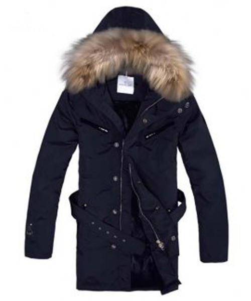 Moncler Coat Men Hooded Fur Collar Navy Blue