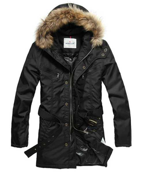 Moncler Coat Mens Hooded Fur Collar Black
