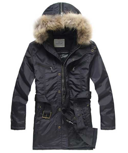 Moncler Coat Mens Hooded Fur Collar Blue