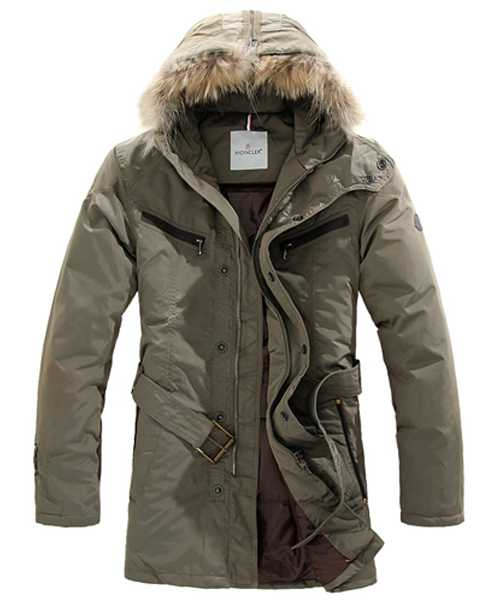 Moncler Coat Mens Hooded Fur Collar Khaki