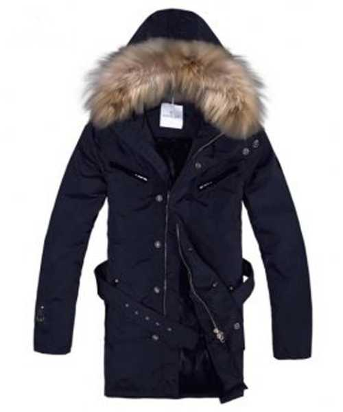 Moncler Coat Mens Hooded Fur Collar Navy Blue