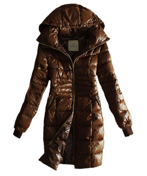 Moncler Coat Women Gold Zip Hooded Coffee Long