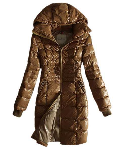 Moncler Coat Women Gold Zip Hooded Khaki Long