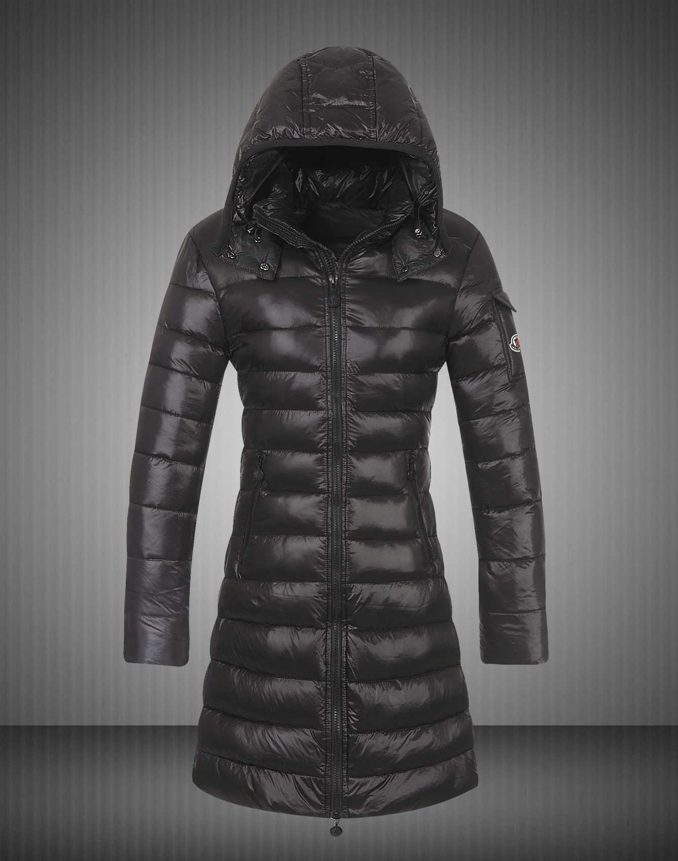 Moncler Coats Down Women Smooth Shiny Fabric Black