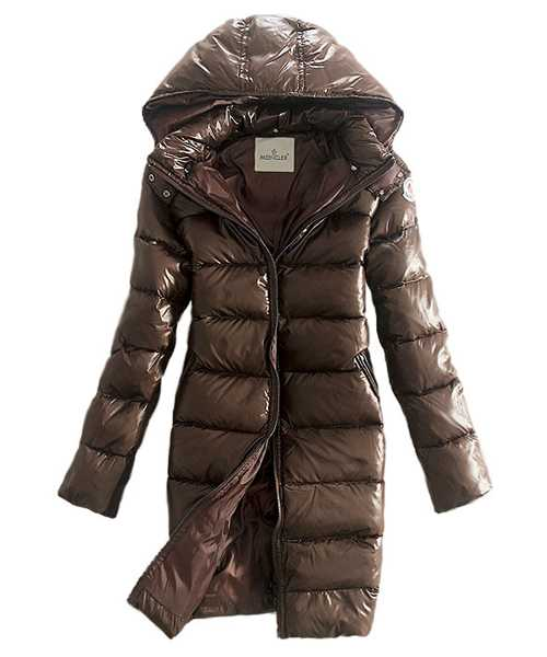 Moncler Coats Down Women Smooth Shiny Fabric Coffee