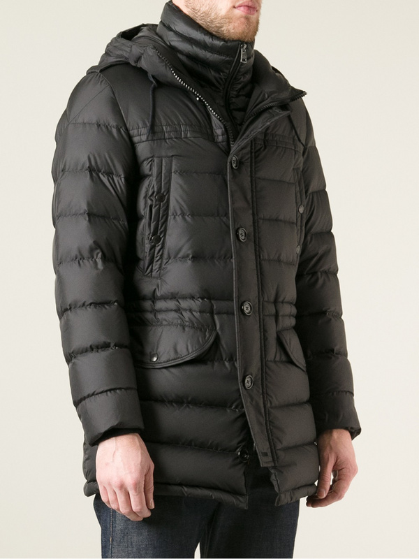 Moncler Coats Men With Mock Collar Black