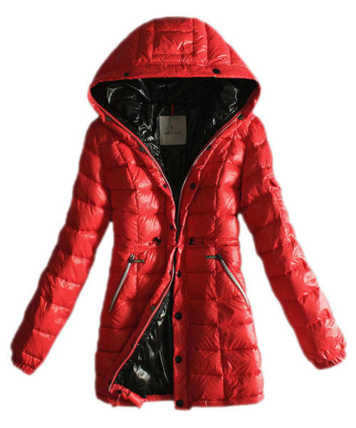 Moncler Coats Women Breasted Pure Color Red