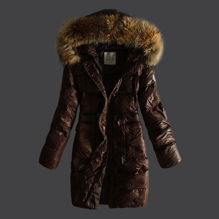 Moncler Coats Women Pure Color Hooded Coffee