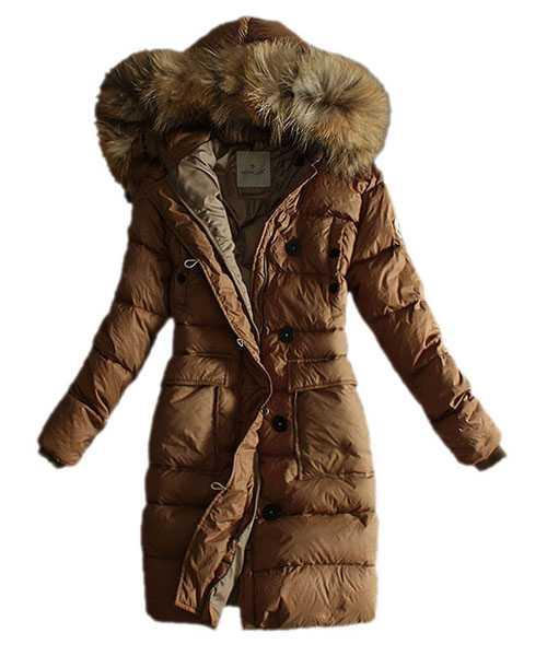 Moncler Coats Women Pure Color Hooded Fashion Khaki