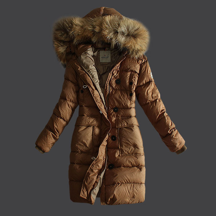Moncler Coats Women Pure Color Hooded Khaki