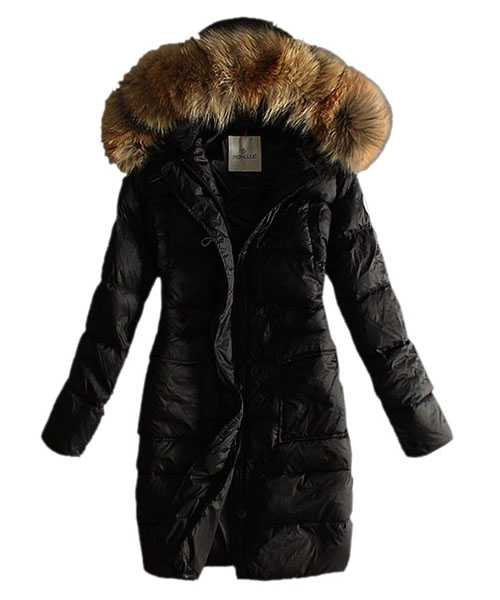 Moncler Coats Women With Belt Pure Black Long