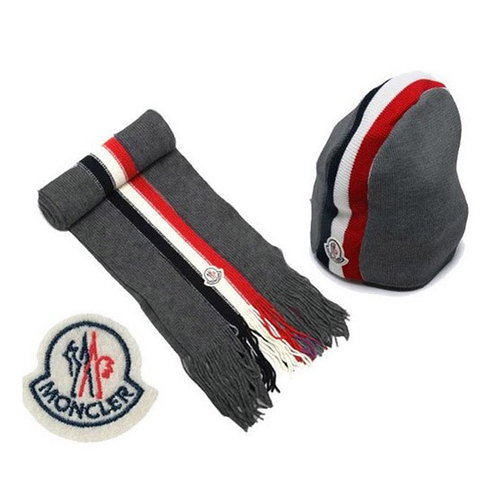 Moncler Cotton Grey Scarf & Cap