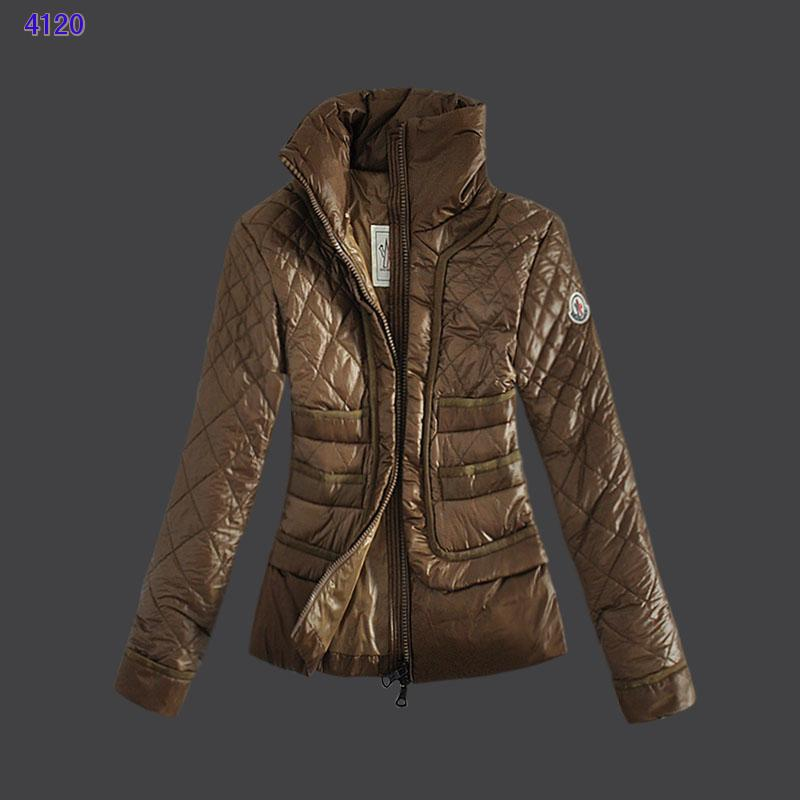 Moncler Design Women Down Jacket Stand Collar Coffee