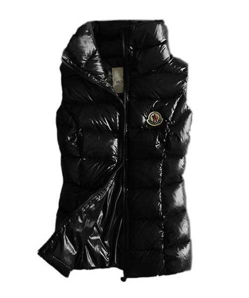 Moncler Designer Women Down Vests Pure Color Black