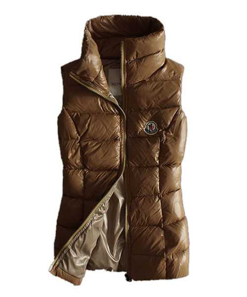 Moncler Designer Women Down Vests Pure Color Brown