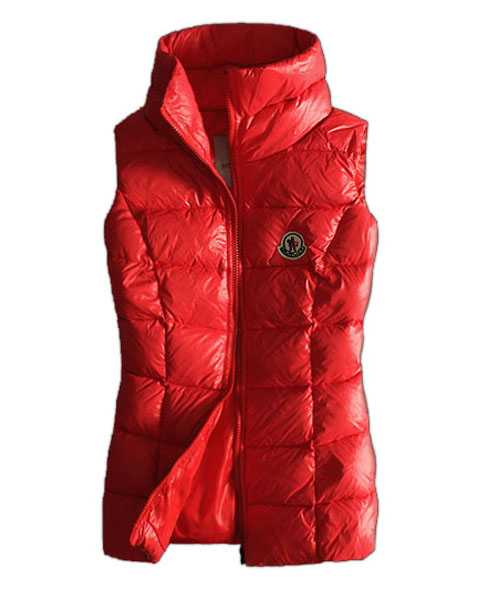 Moncler Designer Women Down Vests Pure Color Red