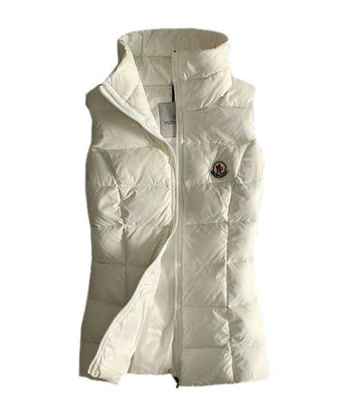 Moncler Designer Women Down Vests Pure Color White