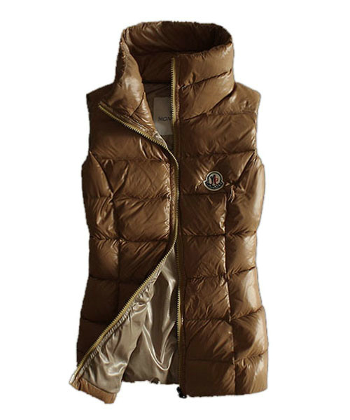 Moncler Designer Womens Down Vests Pure Color Brown