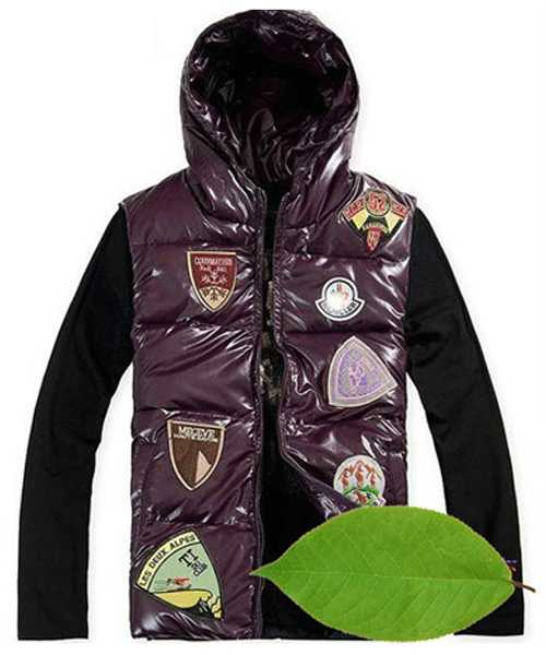 Moncler Down Vest For Mens Multiple Logo Purple