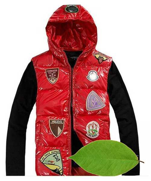 Moncler Down Vest For Mens Multiple Logo Red