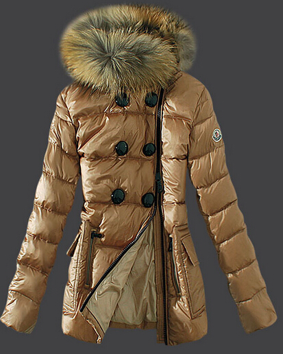 Moncler Women Down Jacket Fur Collar Beige