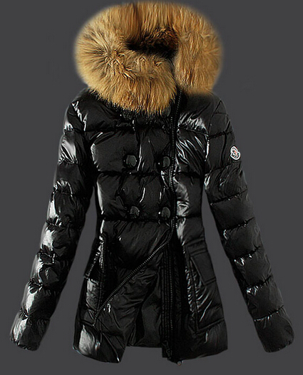 Moncler Down Jacket Black Fur Collar