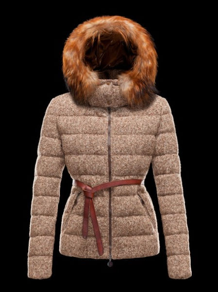 Moncler Women's Fur Coat Brown Gold