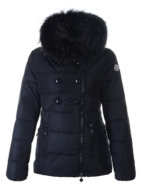 Moncler Down Jacket Herisson Women Short Jacket Black Fur