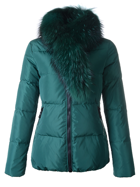Moncler Doudoune Lievre Fur Collar Women Green