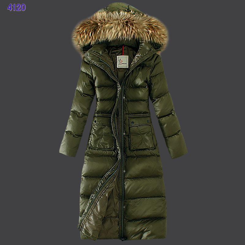 Moncler Down Coat Featured Women Slim Windproof Army Green