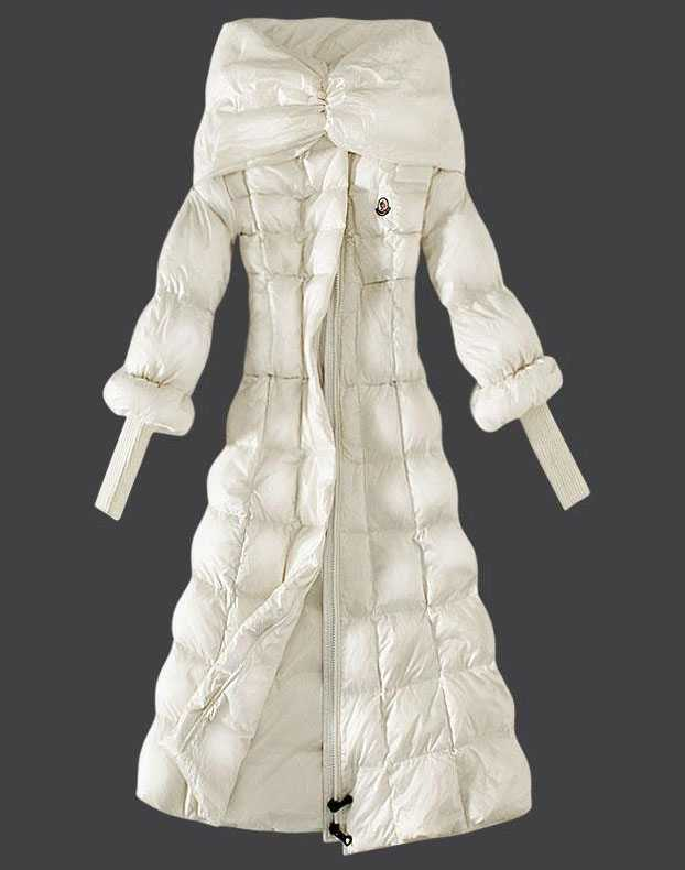 Moncler Down Coat Women Stand Collar Slim White