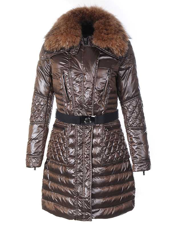 Moncler Down Coat Women With Belt Long Brown
