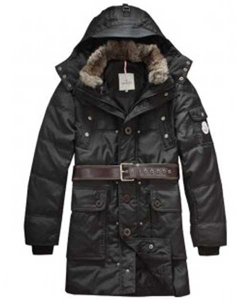 Moncler Down Coats Mens Mid Length Hooded Black