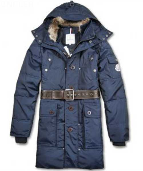 Moncler Down Coats Mens Mid Length Hooded Blue