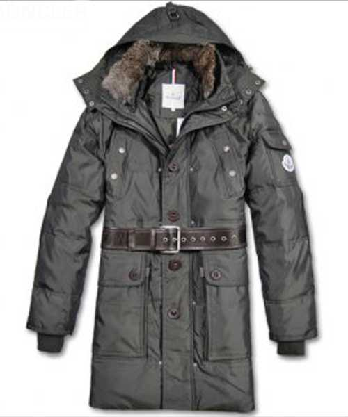 Moncler Down Coats Mens Mid Length Hooded Grey