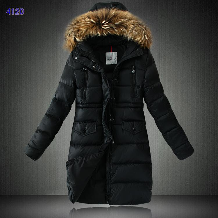 Moncler Down Coats Women Black Women With Fur Collar