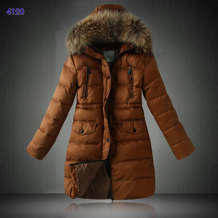 Moncler Down Coats Women Coffee Women With Fur Collar