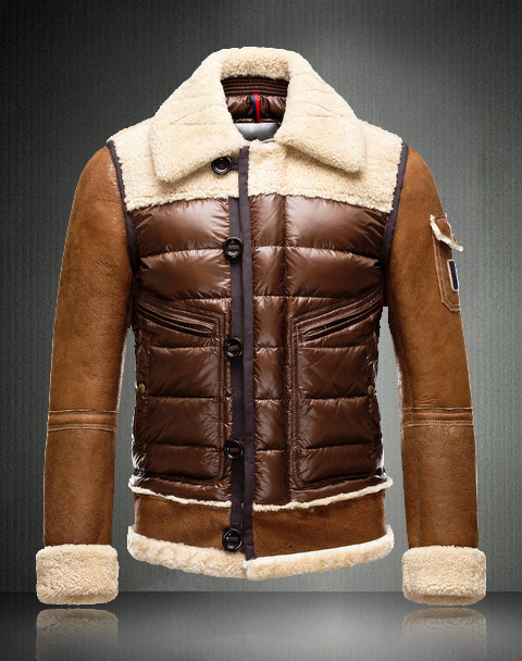 Moncler Down Jackets For Men With Turndown Collar Brown