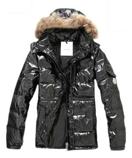 Moncler Down Jackets For Mens Rabbit Fur Cap Style Army Black