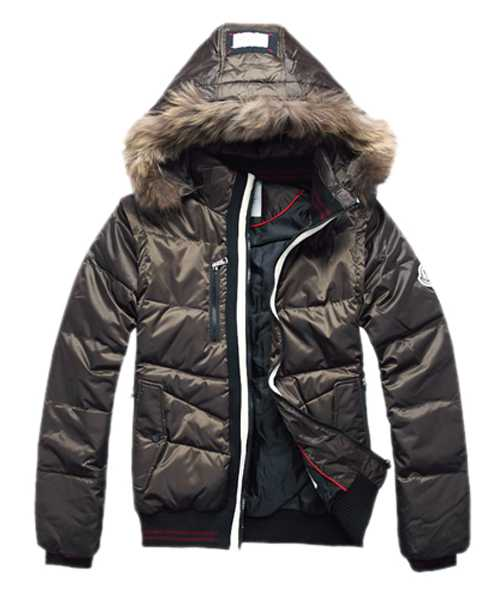 Moncler Down Jackets For Mens Rabbit Fur Cap Style Army Green