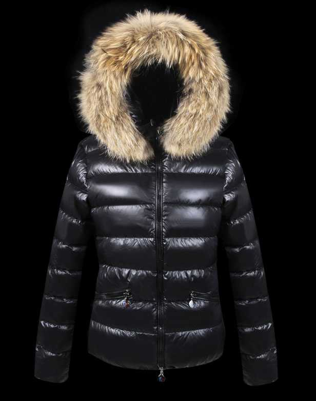 Moncler Down Jackets For Women With Fur Cap Black Uk