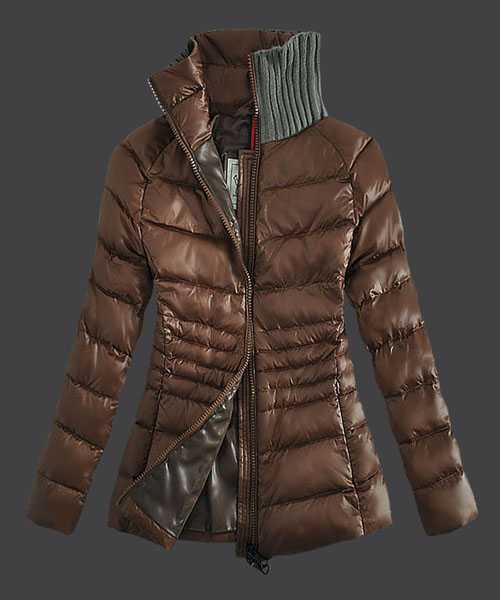 Moncler Down Jackets For Women Zip Stand Collar Coffee