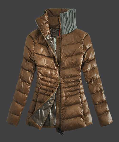Moncler Down Jackets For Women Zip Stand Collar Light Tan