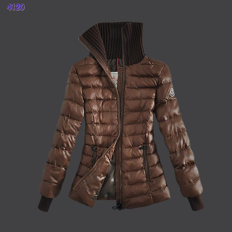 Moncler Down Jackets For Womens Zip Stand Collar Coffee
