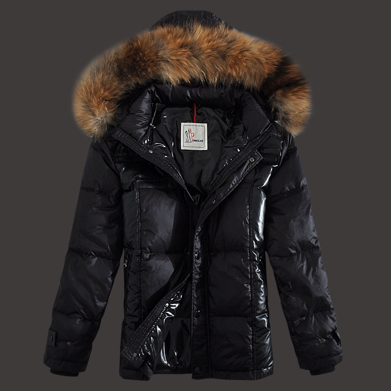 Moncler Down Jackets Men Zip Raccoon Fur Collar Black
