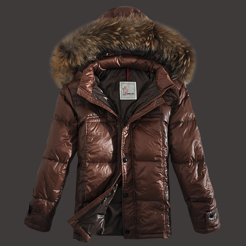 Moncler Down Jackets Men Zip Raccoon Fur Collar Brown