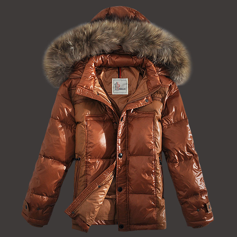 Moncler Down Jackets Men Zip Raccoon Fur Collar Orange