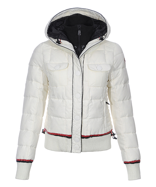 Moncler Down Jackets Winter Women Zip Hooded White