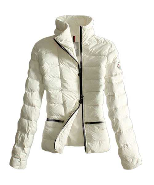 Moncler Down Jackets Women Black Zip Pure Color White