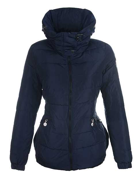 Moncler Down Jackets Women Neck Collar Deep Blue